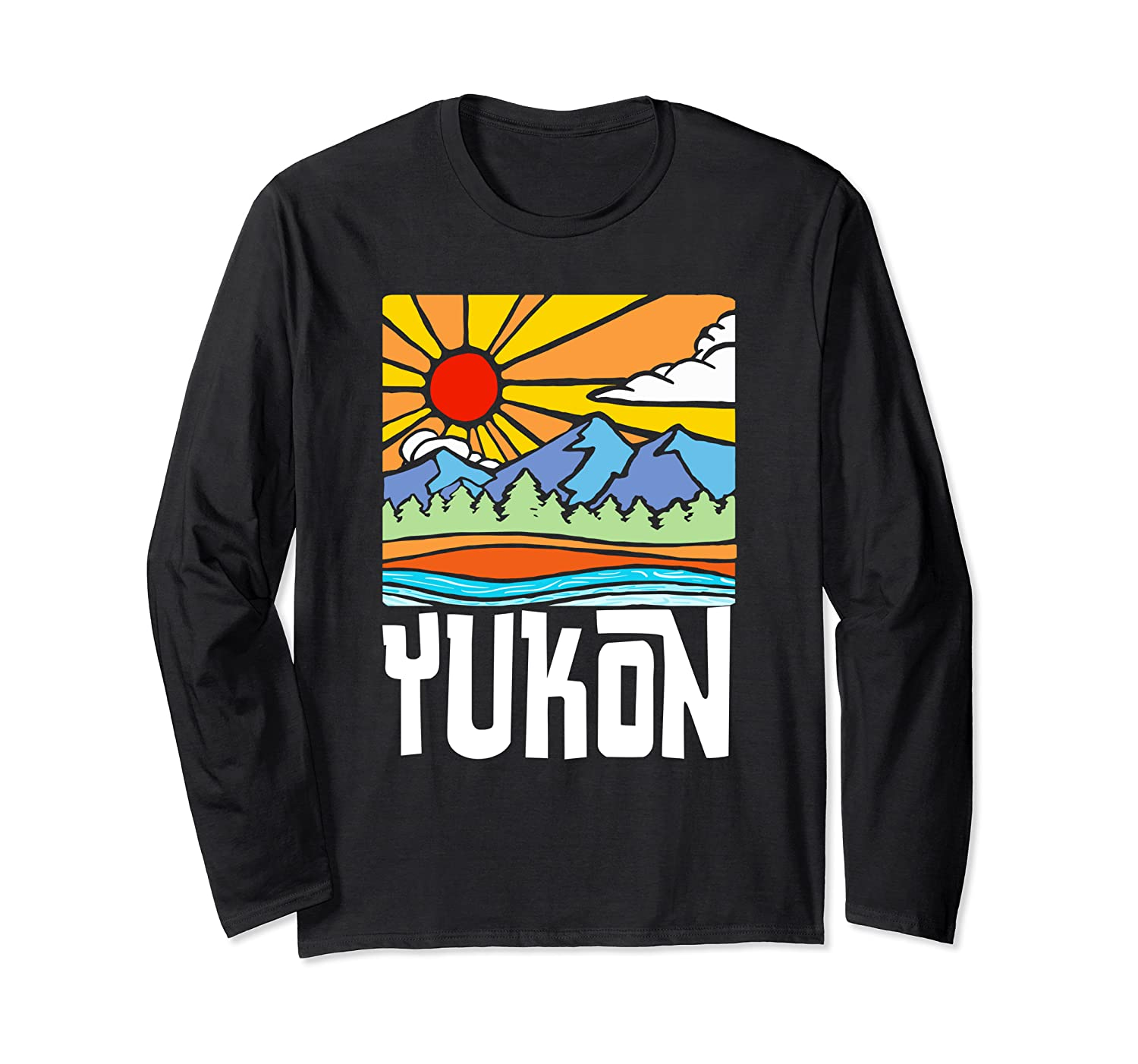 yukon canada artistic nature and mountains vintage graphic long sleeve t shirt 1 - Classic Shop